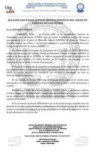 Boletín - Sección XXII exige ALTO AL hostigamiento DEL IEEPO EN CONTRA DE LOS CENDIS-  7 abril 2017
