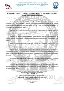 SECCIÓN XXII LLAMA A LAS BASES A SALVAGUARDAR LA INTEGRIDAD FÍSICA DE NIÑAS, NIÑOS Y COMUNIDADES
