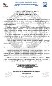Boletín- ALTO A LA PERSECUCION CONTRA ORGANIZACIONES SOCIALES - 24 agosto 2017