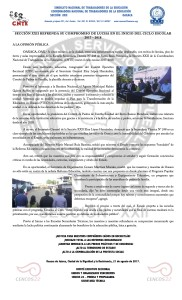Boletín- SECCION XXII REFRENDA SU COMPROMISO DE LUCHA EN EL INICIO DEL CICLO ESCOLAR 2017 2018 - 21 agosto 2017