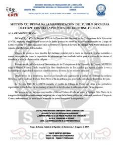 Boletín- SECCION XXII RESPALDA LA LUCHA DEL PUEBLO DE CHIAPA DE CORZO - 7 agosto 2017
