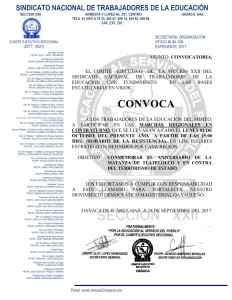 Convocatoria para las marchas regionales a contra turno el lunes 2 de octubre de 2017