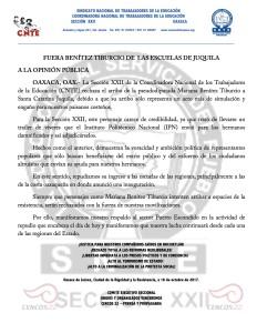 Boletin - Fuera Benítez Tiburcio de  las escuelas de Juquila  - 16 octubre 2017