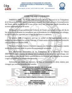 COMUNICADO A LAS BASES 26 octubre 2017