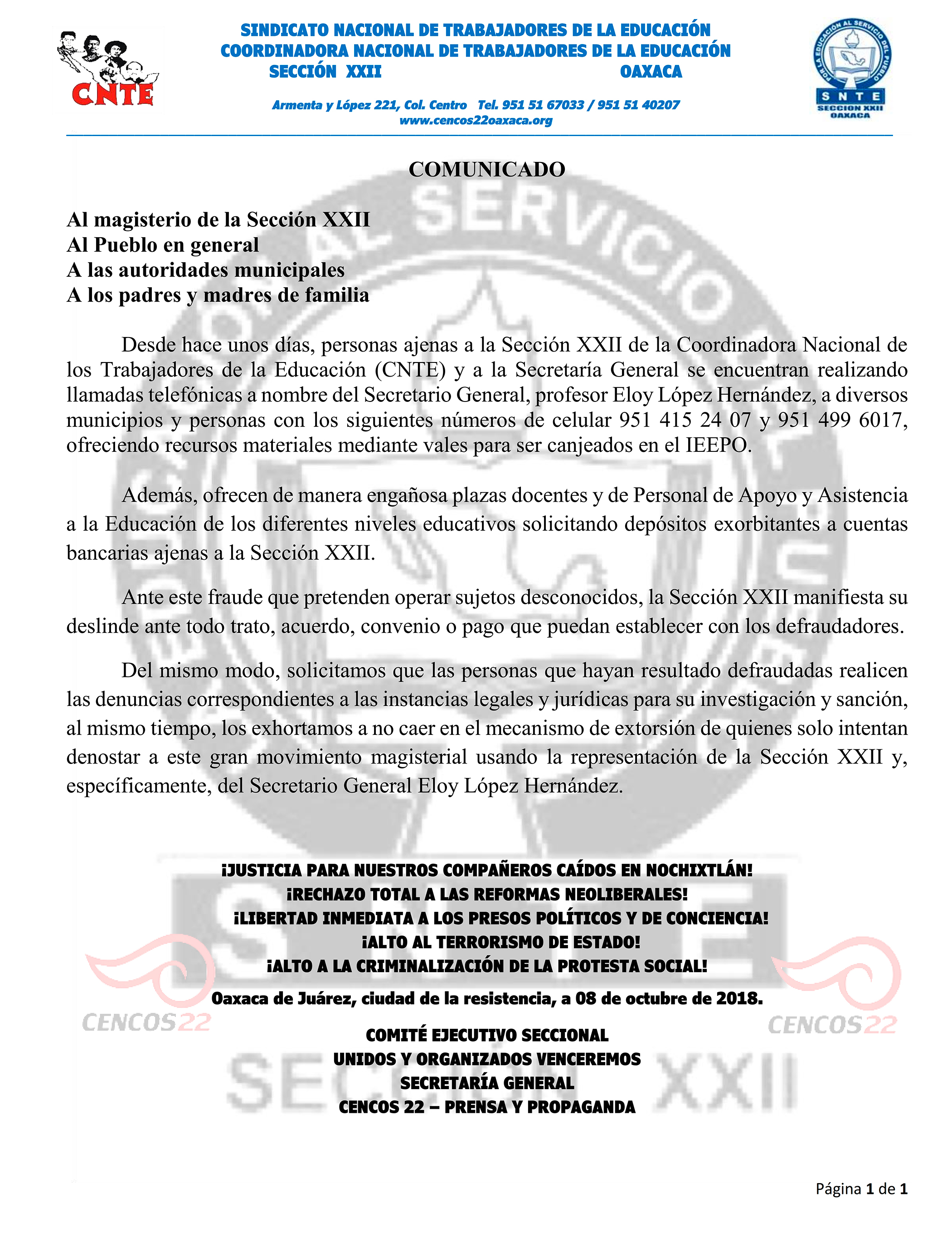 082c5b007 COMUNICADO AL MAGISTERIO DE LA SECCIÓN XXII