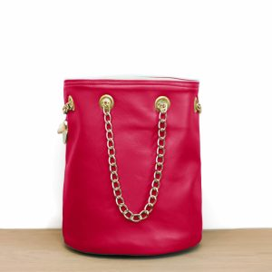 Cénélia | sac seau rose en cuir Nina