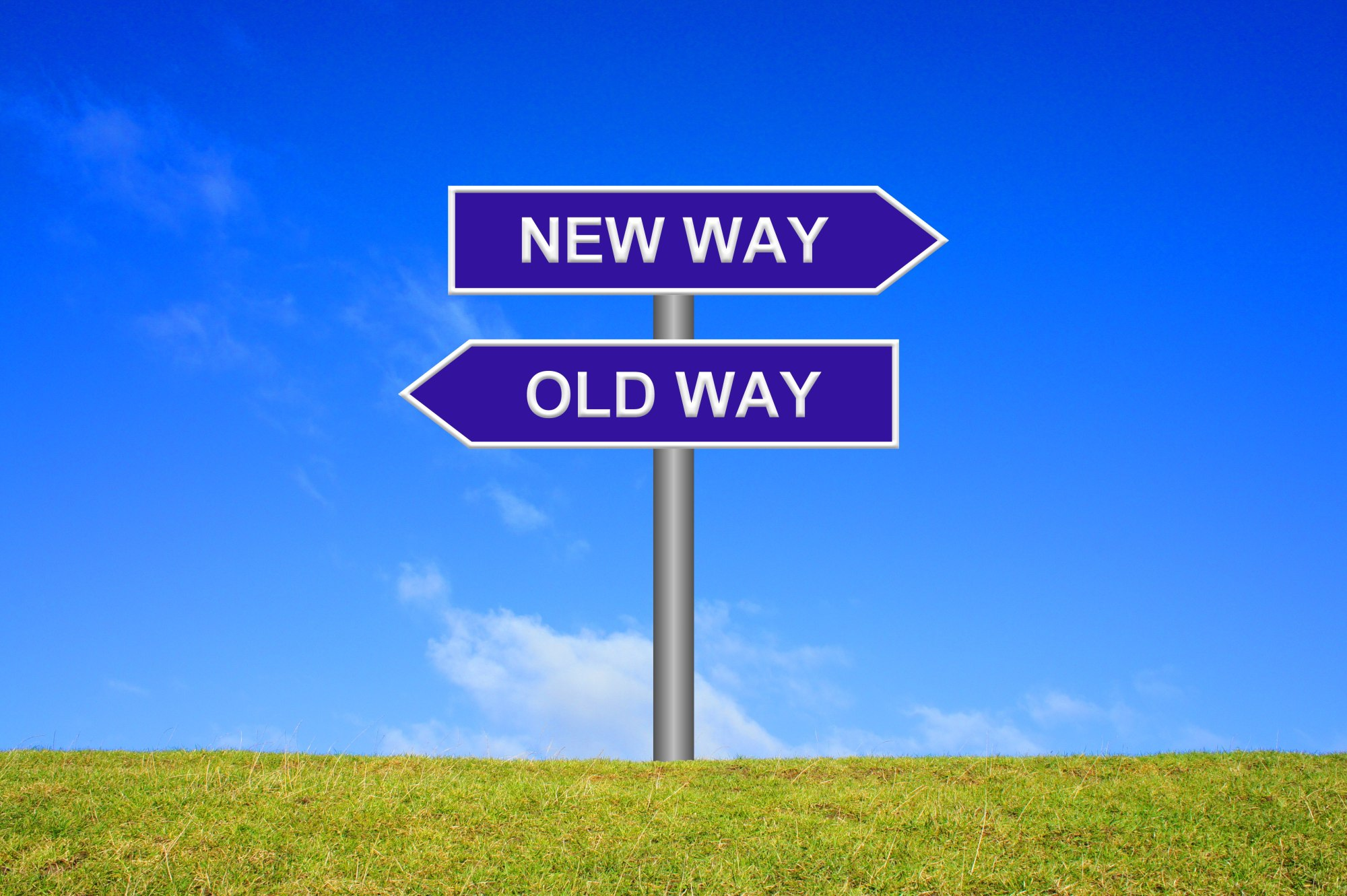 hight resolution of signpost showing new way old way