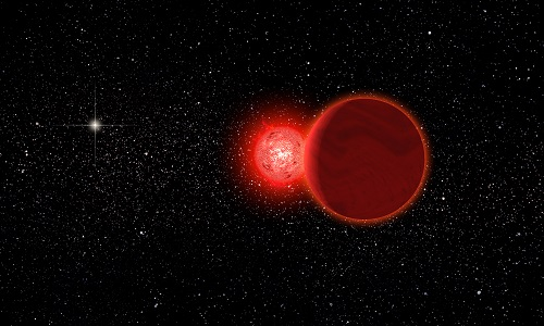 Red and Brown dwarf binary system