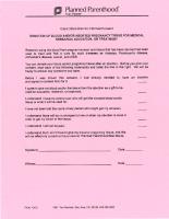 Planned Parenthood Fetal Tissue Donation Form