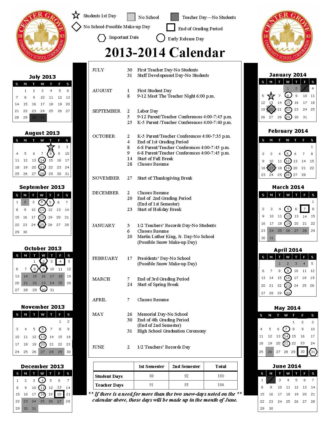 Calendars / 2013-2014 School Calendar