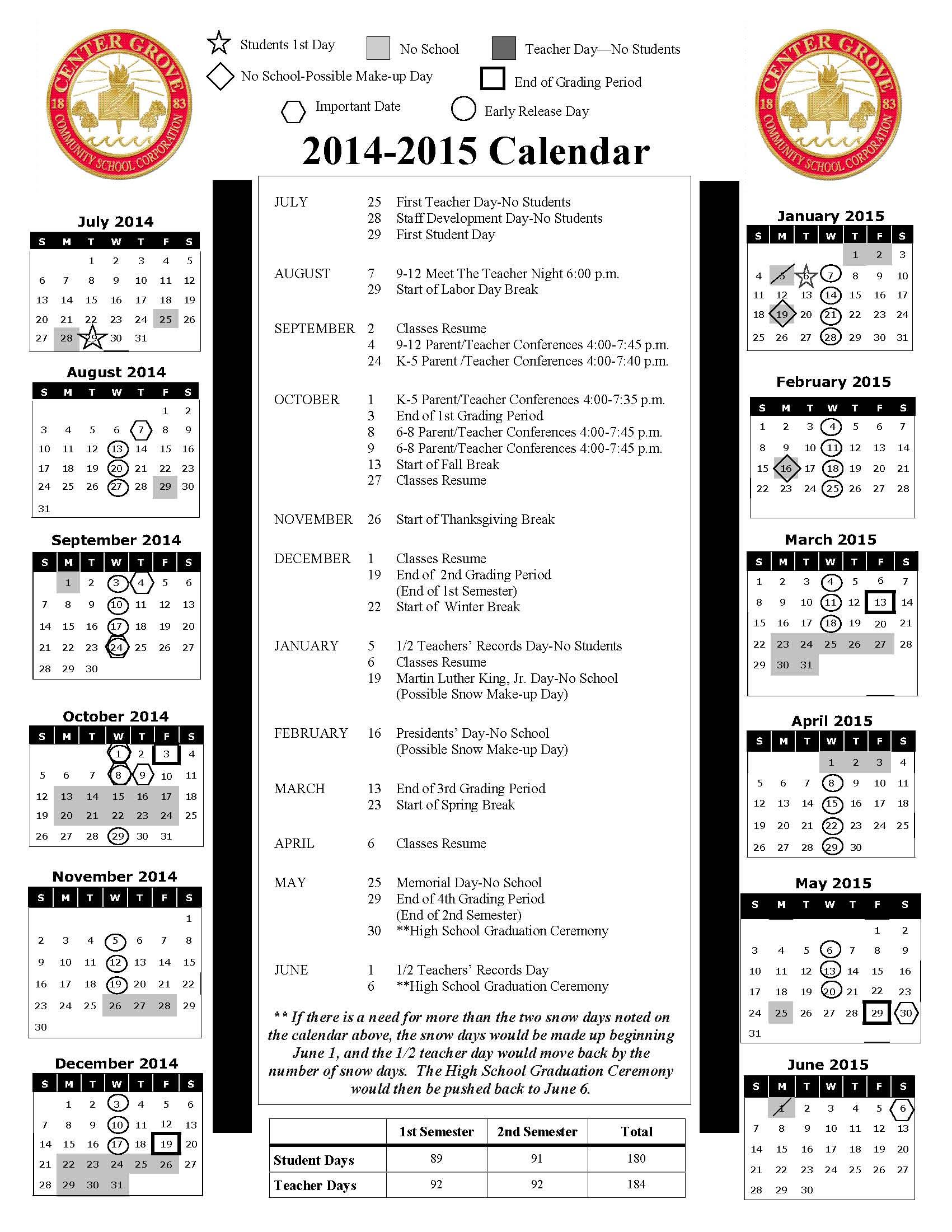School Calendars / 2014-2015 School Calendar