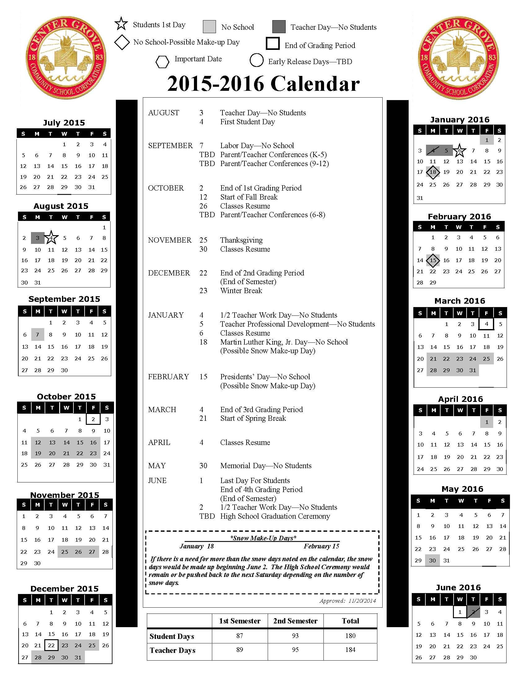 School Calendars / 2015-2016 School Calendar