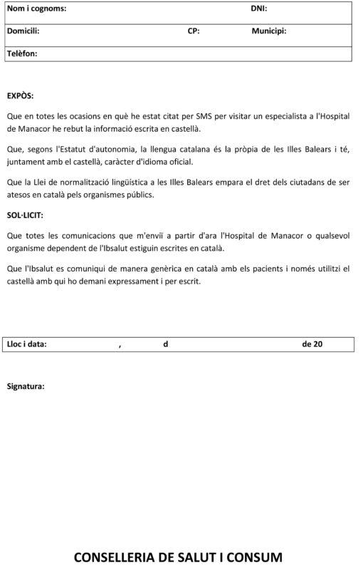 Demanen Que Els SMSde L'Hospital De Manacor Siguin En Català