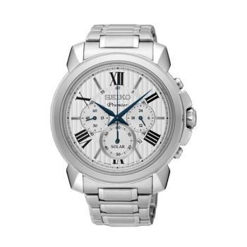 SEIKO นาฬิกาข้อมือ รุ่น Premier Solar Chronograph SSC595P สีขาว