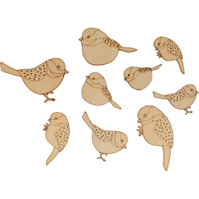 bois ornement oiseaux d artemio 18 pieces