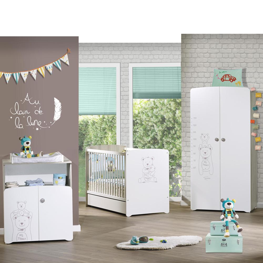Chambre bb trio teddy lit 60x120cm  commode  armoire de Baby price sur allobb