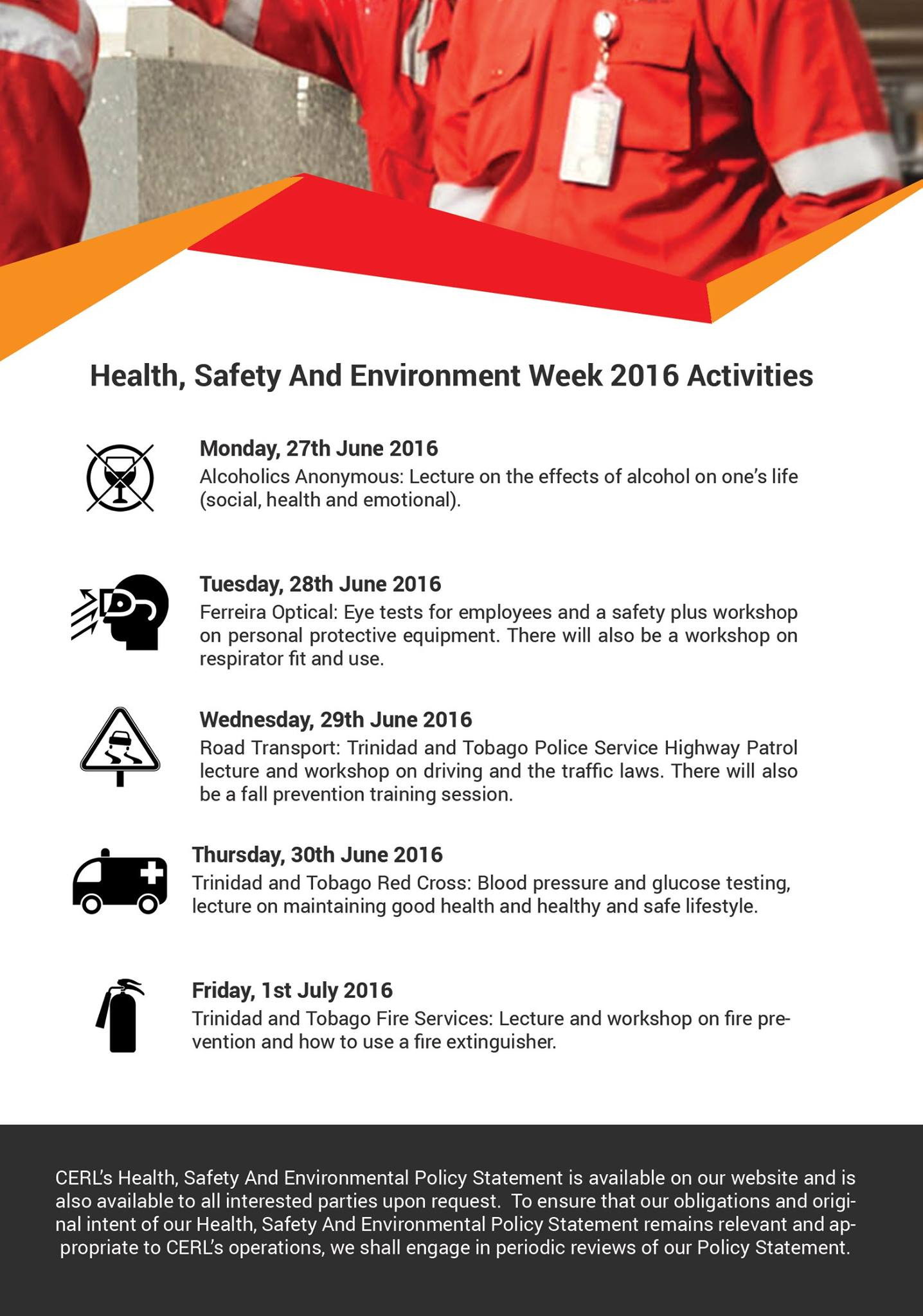 Health, Safety And Environment Week 2016 Activities