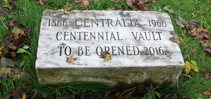 The Centennial Vault, a time capsule in Centralia, Pennsylvania. When opened, there was about a foot water inside. This ruined most of the items within the time capsule and entirely destroyed anything made of paper.