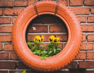 Red tire hung on red brick wall filled with yellow flowers