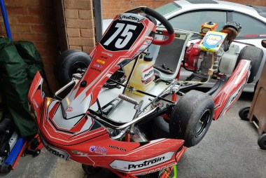 Close up of Red Honda Cadet Kart shown from the front