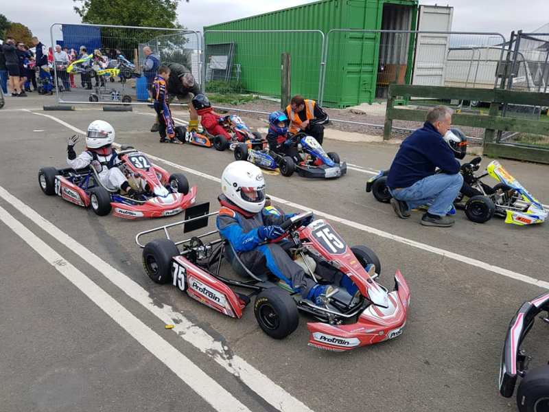 Harrison in his Kart on the start line