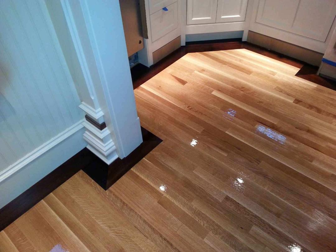 Rift Sawn White Oak Flooring with 5 Walnut Border in