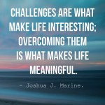 Challenges are what make life interesting overcoming them is what makes life meaningful.