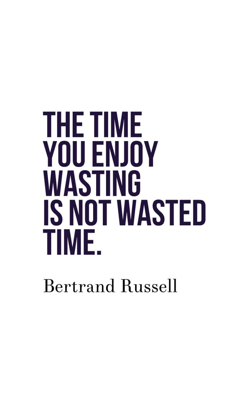 The time you enjoy wasting is not wasted time.