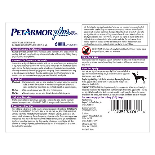 petarmor plus flea treatment for dogs