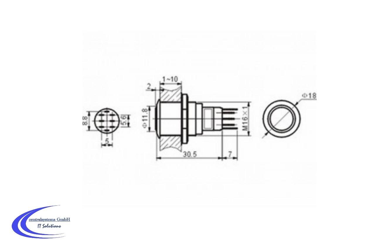 Edelstahl Drucktaster Ip65 Mit Roter 12v Led Beleuchtung 0