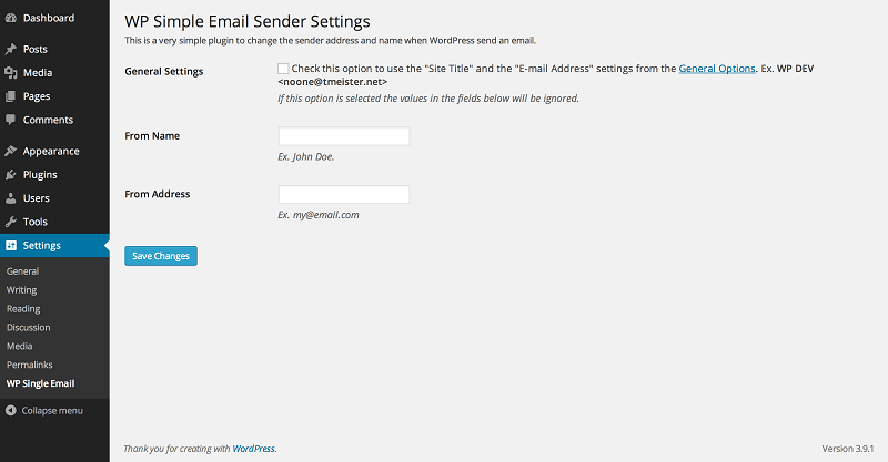WP Simple Mail Sender