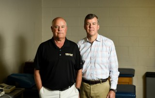 Portrait of Head Athletic Trainer Jamey Gay and College Physician Brian Ellis '86 taken for the CentrePiece story on Concussions.