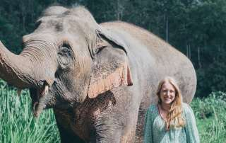 Emma Jackson and elephant