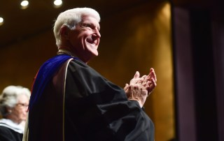 President Roush applauds at Commencement