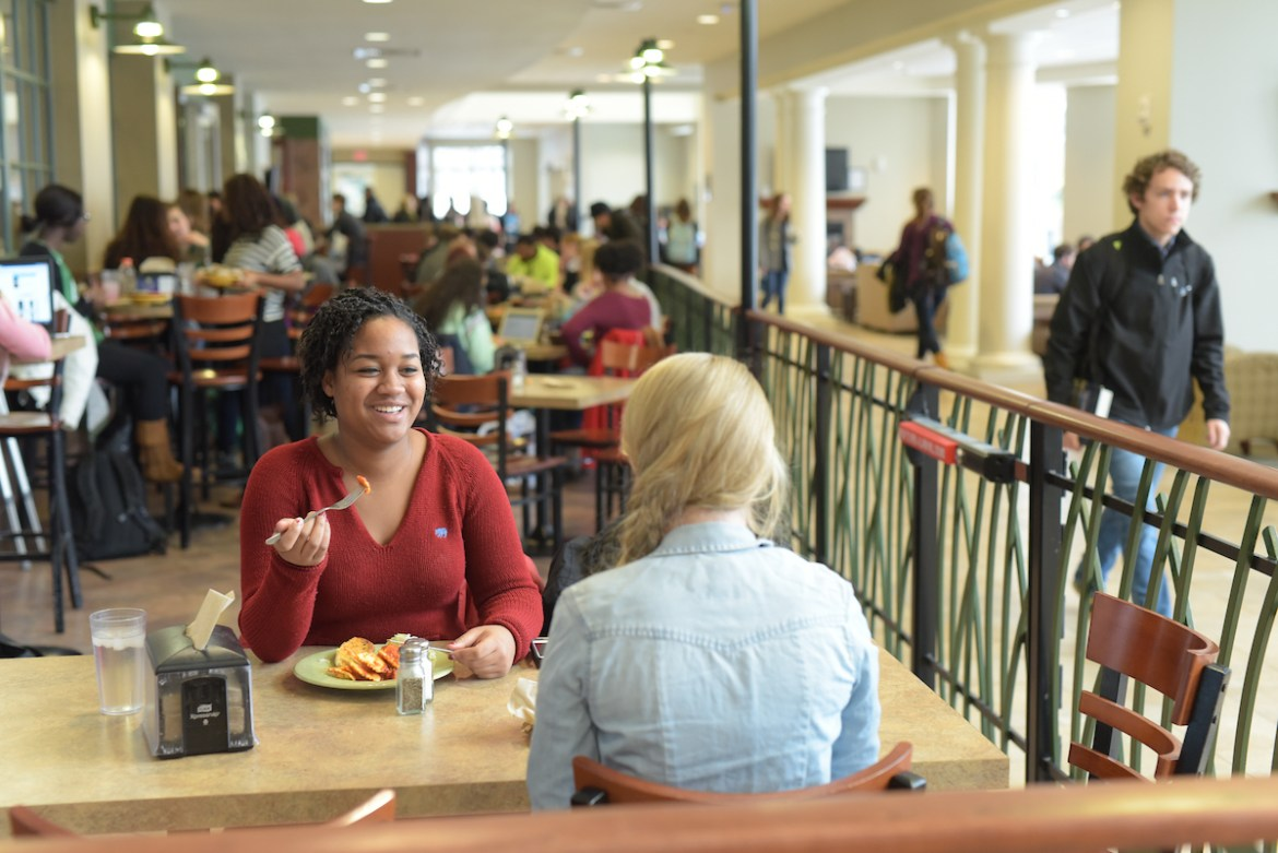 students eating in Cowan Dining Commons