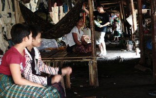 Internally displaced refugees in a makeshift shelter in Myanmar
