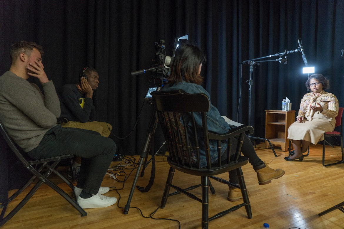 Students interview subjects as part of the Documentary filmmaking course during CentreTerm 2018.