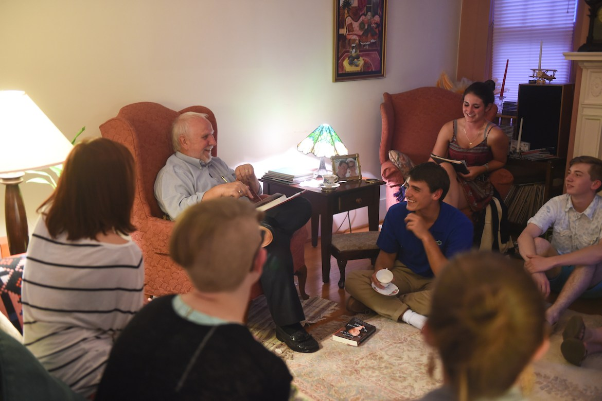 Professor Tony Haigh hosts students advisees at his home