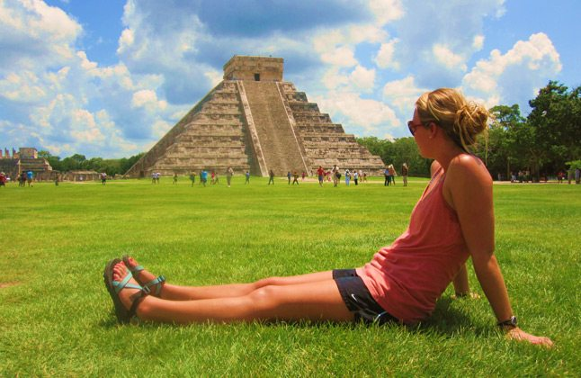 female student near a pyramid in the Yucatan