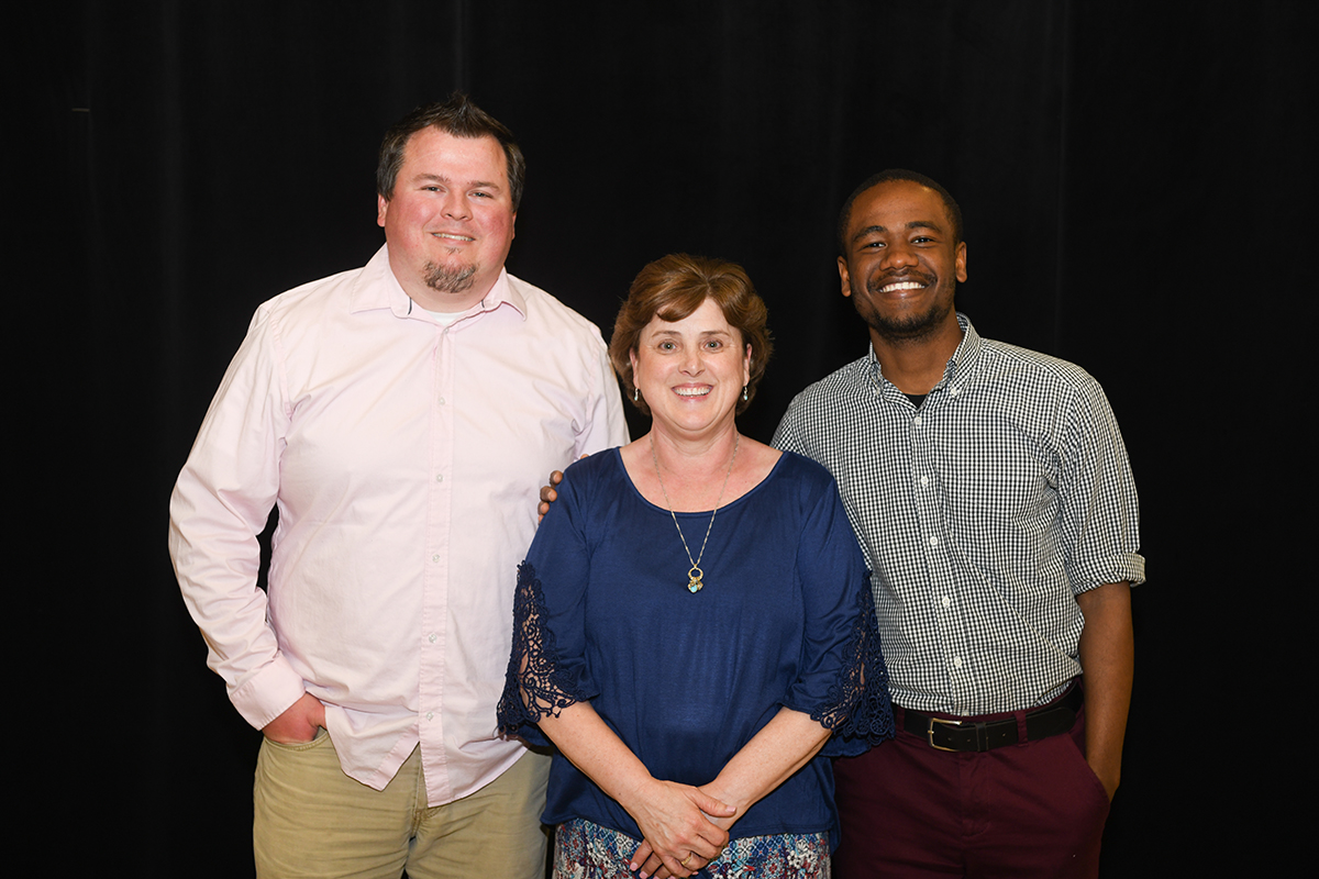 Ryan Lanigan, Marsha Edelen and Greg Chery receive awards at Centre Closing Dinner
