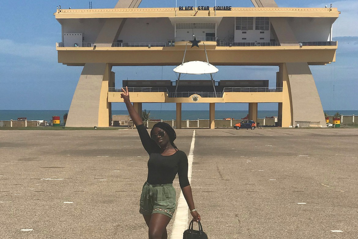 Stephanie Bamfo '21 stands in Black Star Square in Accra, Ghana