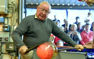 Master Glassmaker, Lino Tagliapietra came back to Centre College for his 7th visit October 24th – November 4th, 2014. During homecoming weekend he presented a public glassblowing demonstration JVAC's hot glass studio in front of a large group of the centre college community.