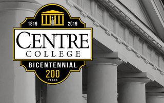Bicentennial Campaign logo overlaid on Old Centre columns.