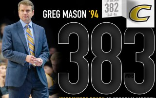 Greg Mason '94 coaches basketball from the sidelines overlaid with 393.