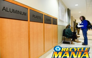 Recycling receptacles in Young Hall on Centre's campus