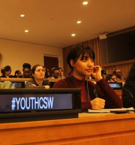 Anukriti Kunwar '22 (Kathmandu, Nepal) at the Commission on the Status of Women's (CSW) 63rd session at the United Nations (UN) Headquarters in New York