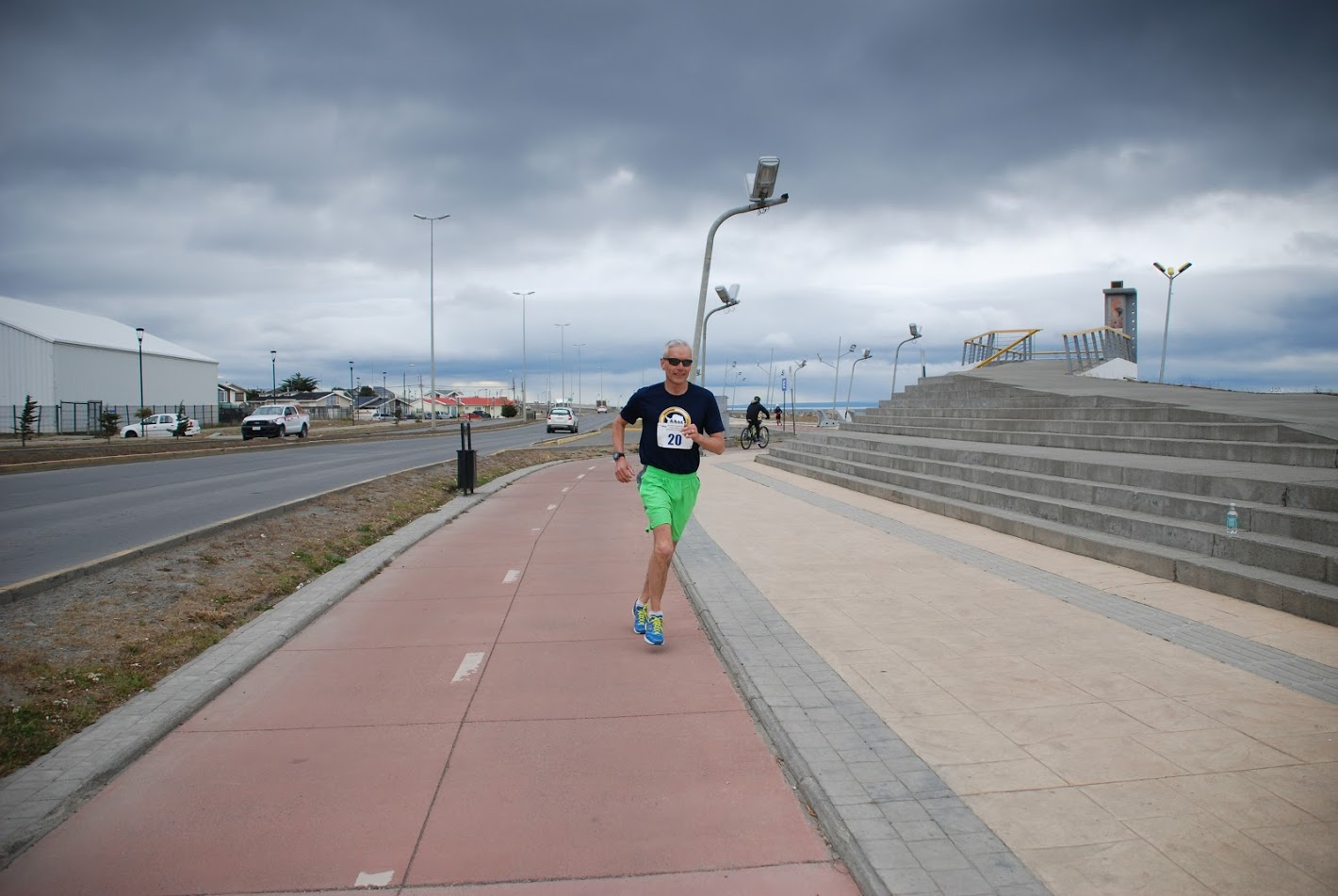 David Anderson mid race of the Punta Arenas Marathon in Chile