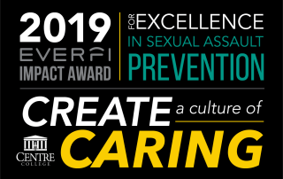 Graphis with details regarding Centre College receiving the 2019 Impact Award for Excellence in Prevention