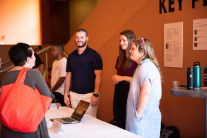 From left to right, Cole McCarson '20, Rylee Bledsoe '20 and Izzy Neel '22 present their recent internships at the Vanderbilt University Medical Centre.