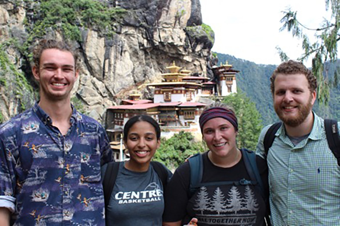 Rachel Skinner '21, second from the right, embraces every opportunity in 'serene' Bhutan